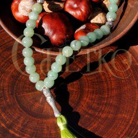 Четки из зеленого натурального авантюрина 33-бусины 10-мм с жезлом минаретом