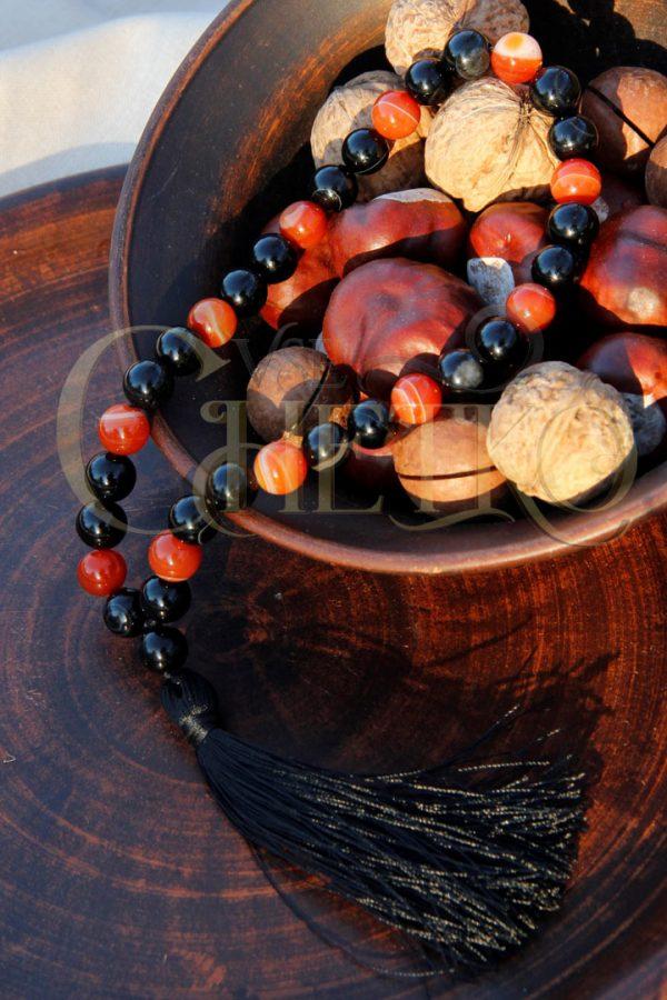 Четки черный агат и сардоникс