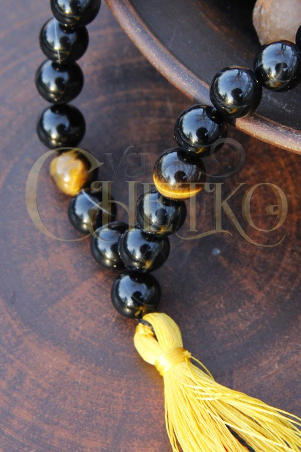 Классические Четки из черного агата и тигрового глаза 33 бусины желтая кисточка