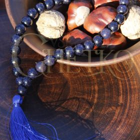Четки из авантюрина Ночь Каира с синей кисточкой, 33 бусины шарики 10 мм