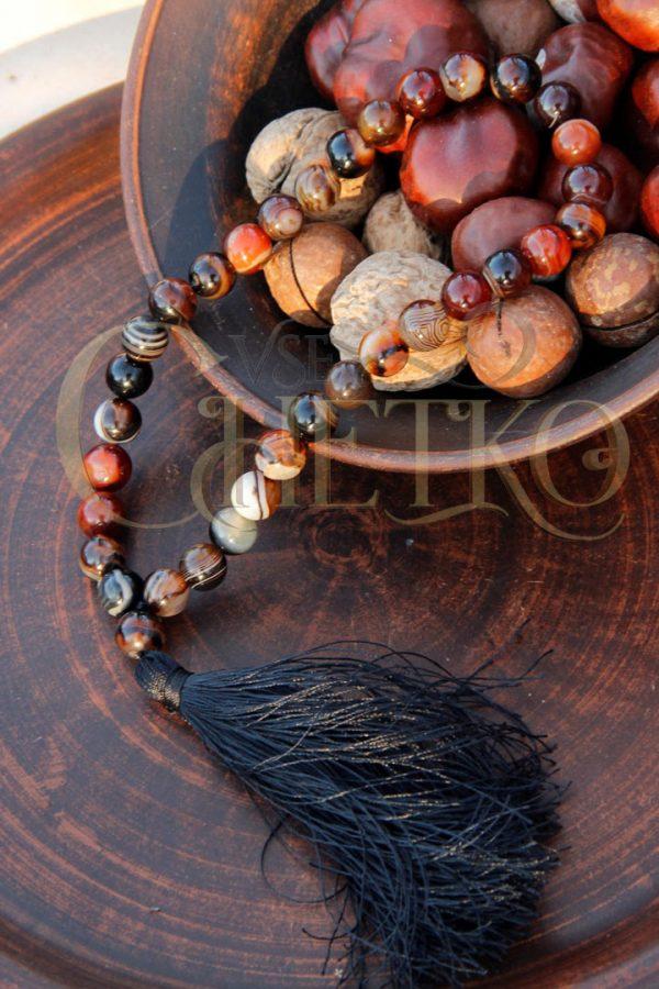 Классические четки из агата сердоликового 33 бусины черная кисточка