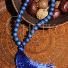 Матовая синь Четки из агата 33 бусины синяя кисточка