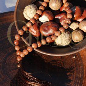 Четки из авантюрина Золотой песок с коричневой кисточкой, 33 бусины косточки шарики 10 мм