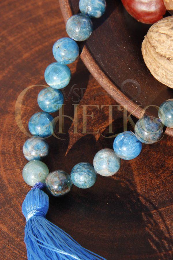 Заказать Четки из апатита на 33 бусины шарика 10 мм с голубой кисточкой