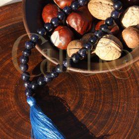 Четки из авантюрина Ночь Каира с голубой кисточкой, 33 бусины шарики 10 мм