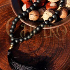 Калипсо Четки из черного агата матового (под шунгит) на 33 бусины с черной кисточкой
