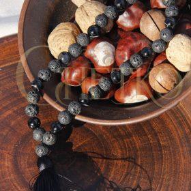 Сириус Четки из черного агата и лавы на 33 бусины 10 мм