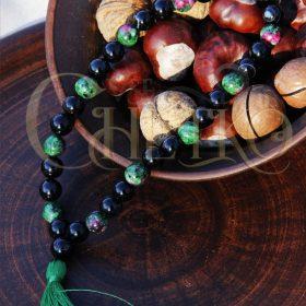 Зеленый Гранд Четки на 33 бусины 10 мм из черного агата и цоизита