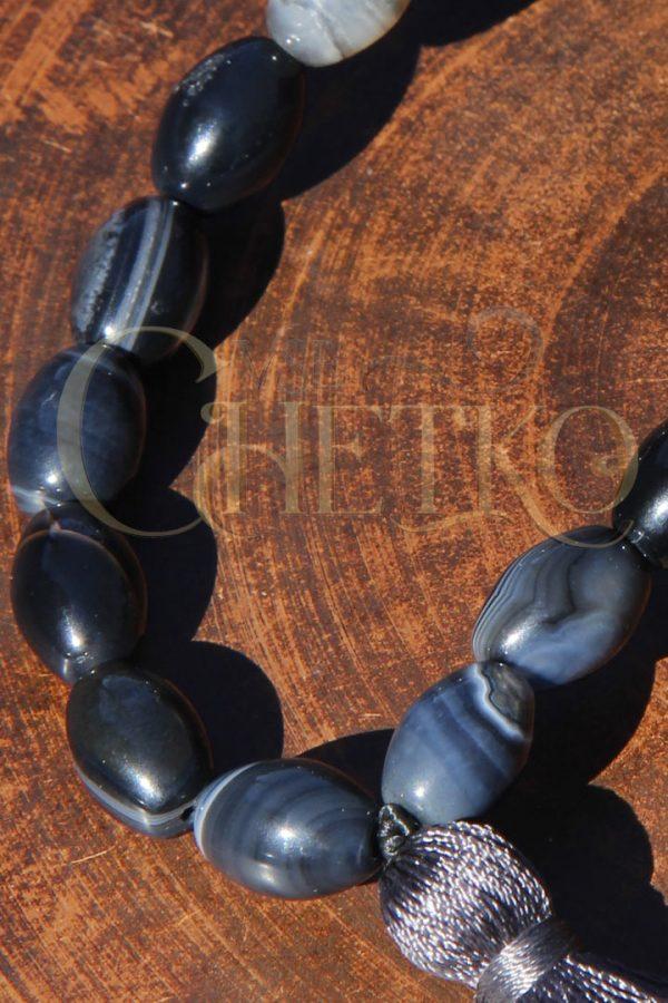 Классические Арктур Четки из агата 33 бусины 10 мм с черной кисточкой