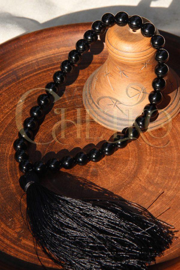 Черная тень Четки из мориона, черного кварца 33 бусины 10 мм с кисточкой