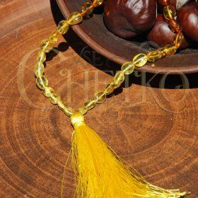 Закат четки из янтаря на 33 бусины с кисточкой