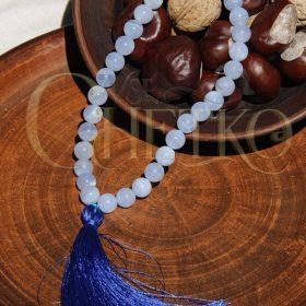 Глубина четки из сапфирина, голубого агата на 33 бусины 10 мм с кисточкой