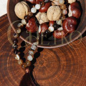 Дублин Четки из агата коричневого на 33 бусины шарика 10 мм кисточкой
