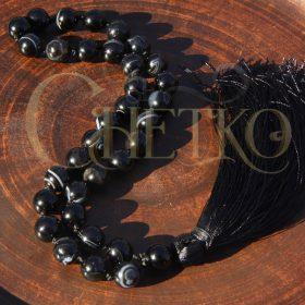 Черный узел агата, четки на 33 бусины 10 мм из черного агата, с кисточкой