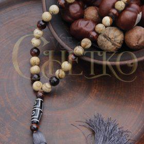 Голос Зевса, четки на 33 бусины 10 мм с кисточкой, песочная яшма,бычий глаз, бусина дзи