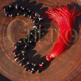 Красный узел агата, четки на 33 бусины 10 мм из черного агата, с красной кисточкой