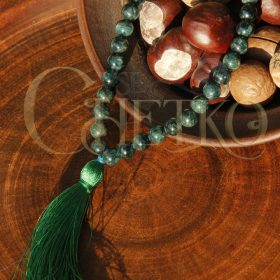 Тайна моря Четки из апатита зеленого на 33 бусины шарика 8 мм кисточкой
