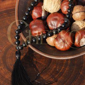 Статика четки на 33 бусины 8мм из шерла, черный турмалин, с кисточкой